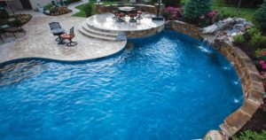 A freeform pool designed by backyard by design Kansas City