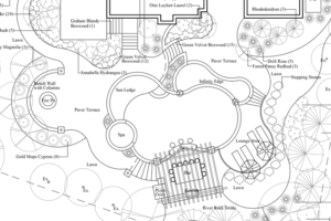 A landscape, pool, and construction plan by Backyard by Design Kansas City