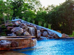 The sketch of a pool and slide built in real life