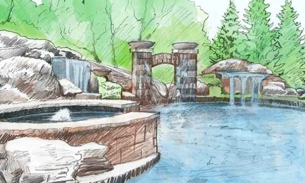 A sketch of a backyard by Backyard by Design