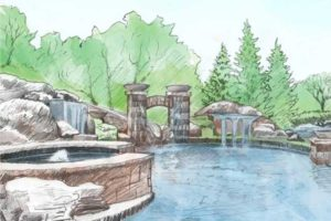 A sketch from Backyard by Design of a hot tub, waterfall, slide, and pool.
