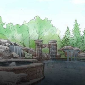 A sketch of a backyard completed by Backyard by Design