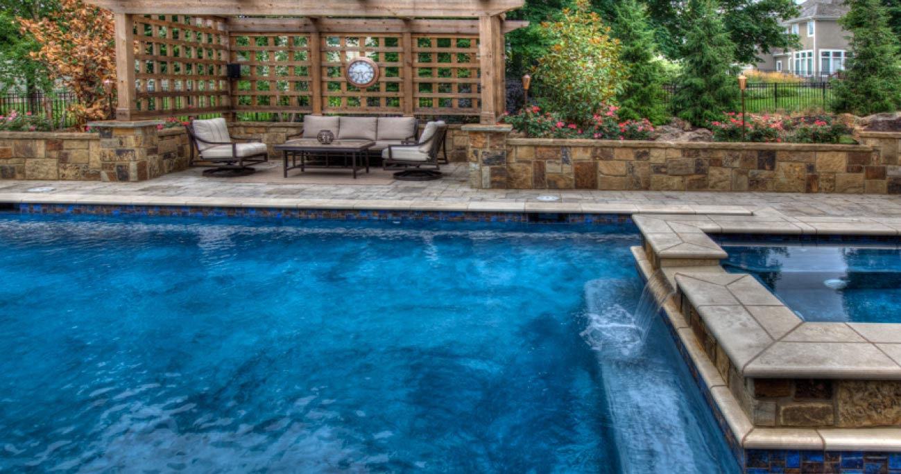 A beautiful Geometric Straight Line Pool from Backyard by Design