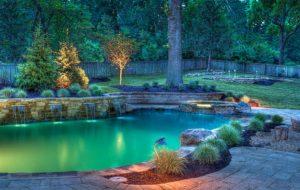 Outdoor pool lighting design by Backyard by Design Kansas City