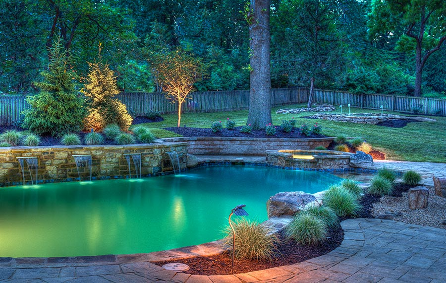 Outdoor pool lighting design by Backyard by Design Kansas City