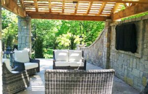 An arbor built by KC builders Backyard by Design