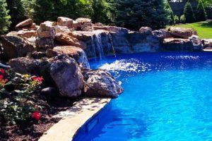 A waterfall in a beautiful blue pool