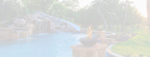 A pool with a slide, spa, waterfall, and fire features