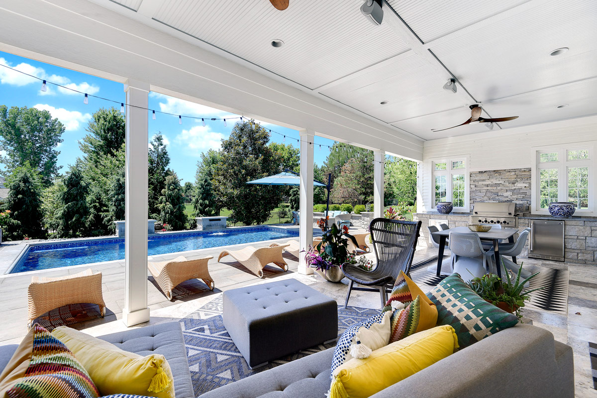 Backyard by design outside enclosure, pool, patio and furniture